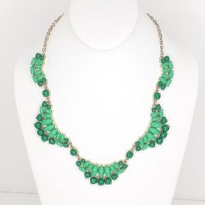 J. Crew 2 Tone Green Necklace On Goldtone Chain